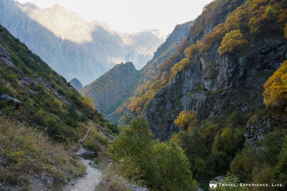 Hiking trail in the Caucasus Mountains, photos of Georgia