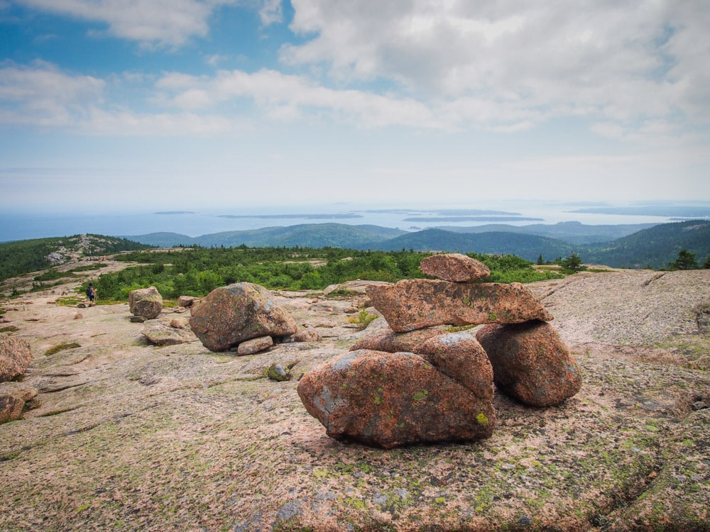 Cairns on Cadillac Mountain in Acadia National Park