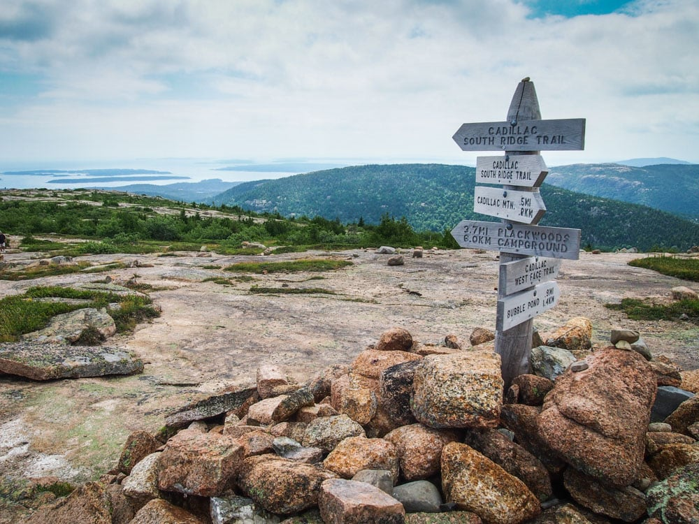 Trails signs, Cadillac Mountain