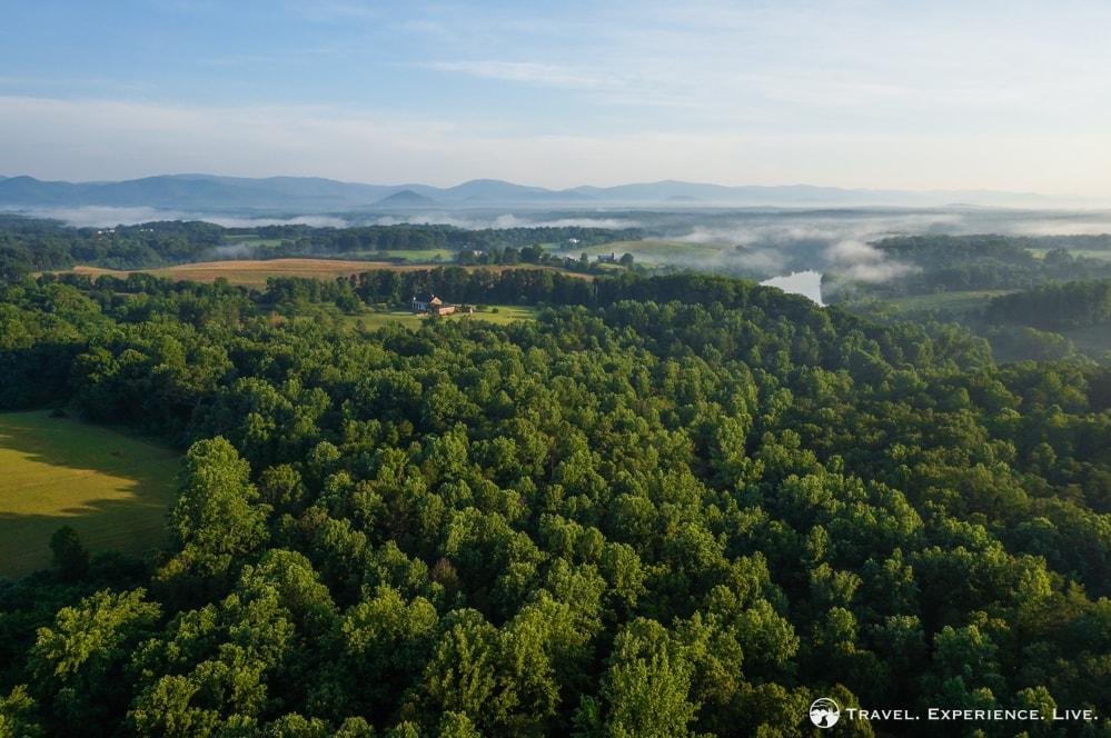 Albemarle County seen from a hot air balloon