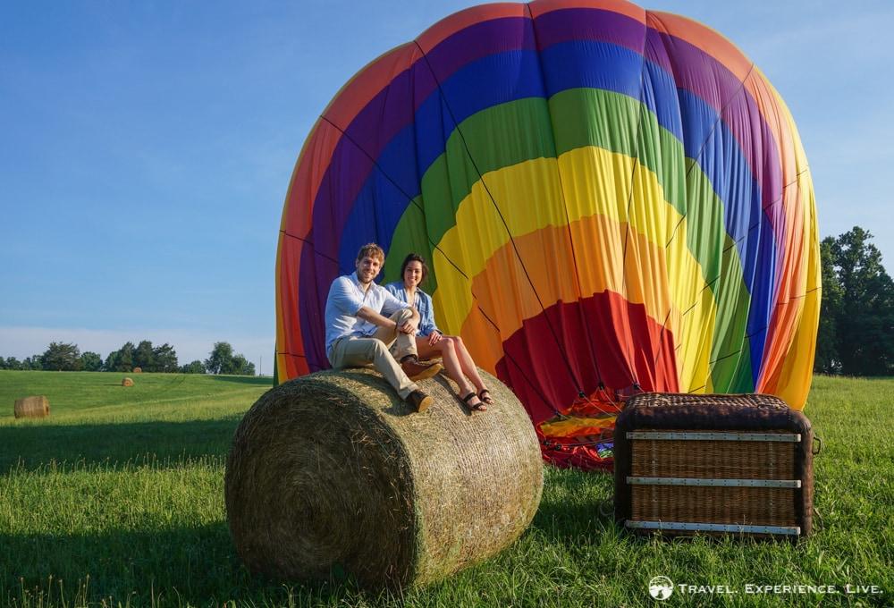 Bram and Caroline, balloon ride in Charlottesville