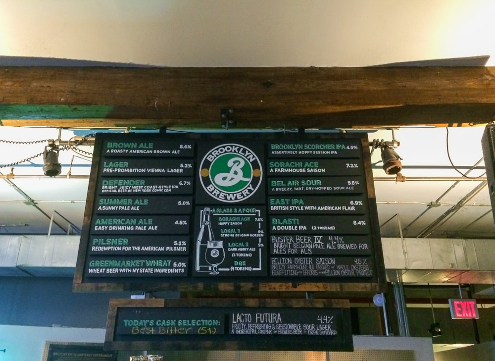 Draft list at Brooklyn Brewery