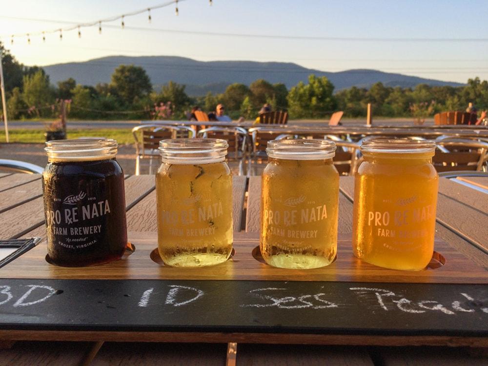 Craft beer flight, Pro Re Nata Farm Brewery
