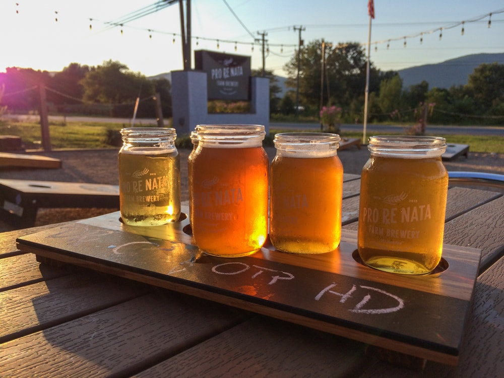 Craft beer flight at Pro Re Nata Farm Brewery