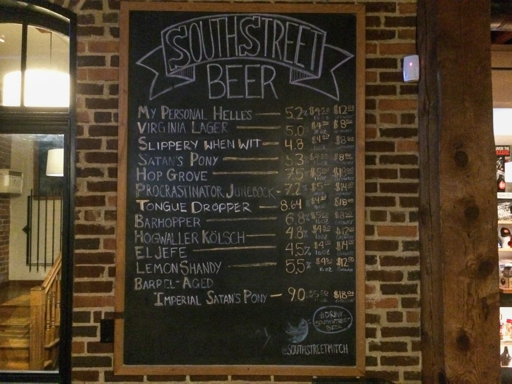 Draft menu, South Street Brewery, Charlottesville