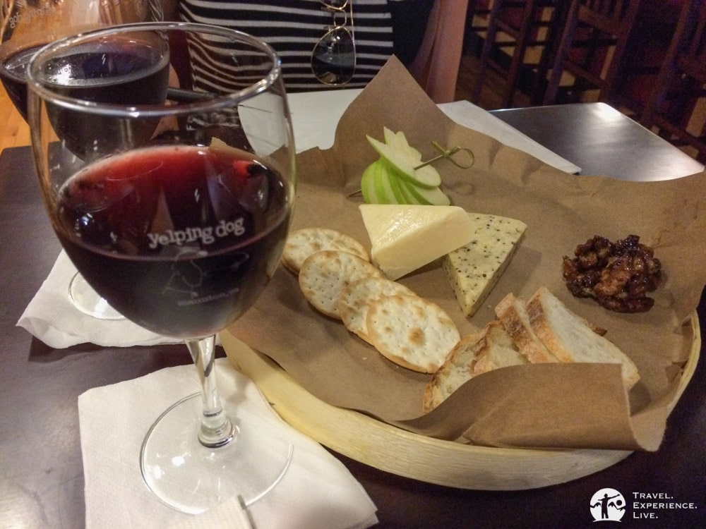 Wine and cheese at the Yelping Dog in Staunton, Virginia