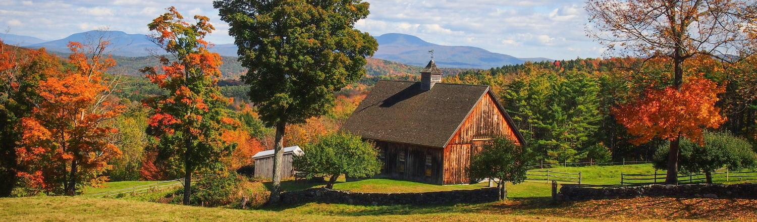 Barn in West Norwich, Vermont, in fall.