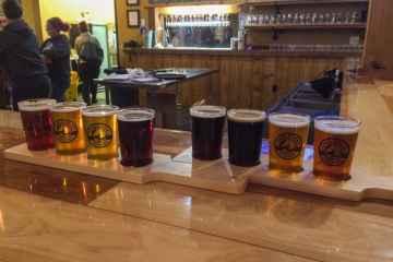 Craft beer flights at Stable Craft Brewing, Waynesboro