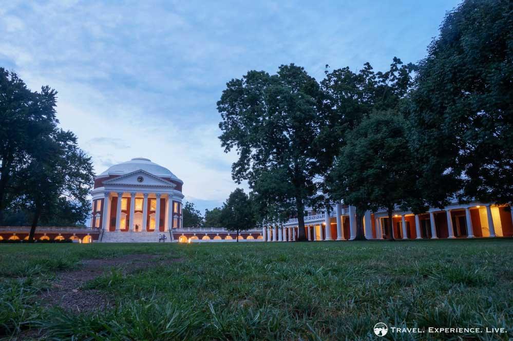 Nightfall at UVA's Academical Village