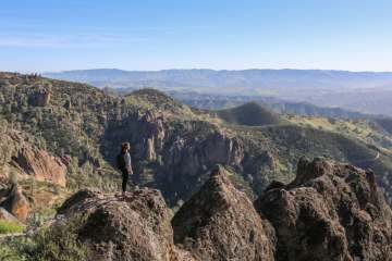 Hiker, High Peaks Trail in Pinnacles National Park