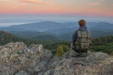 Hiker Watching Sunrise at Bearfence Mountain, Shenandoah National Park, Virginia