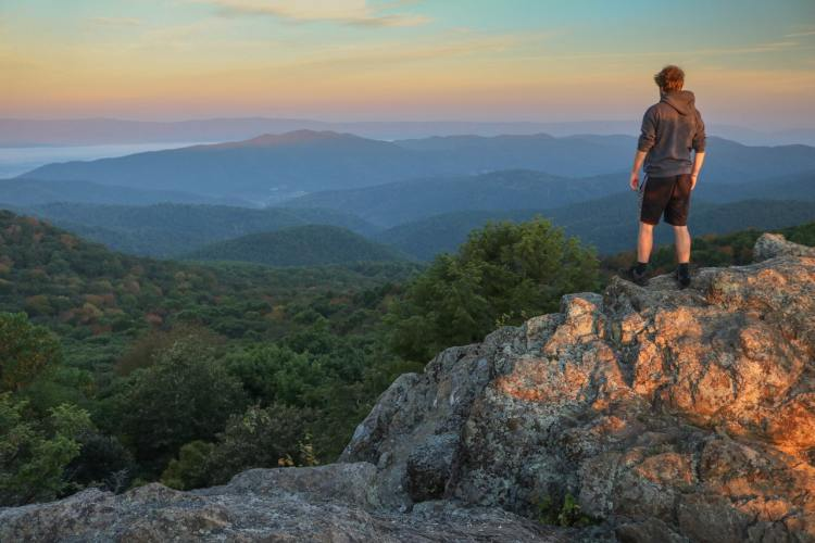 Hiker at Bearfence Mountain - Best Shenandoah National Park Day Hikes