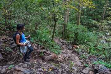 Hiker on the South River Falls Trail, Shenandoah National Park