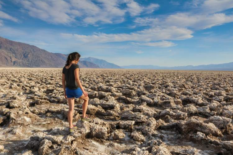 Hiker in Devil's Golf Course, Death Valley National Park