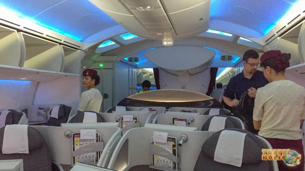 L'intérieur de la business class, Qatar Airways
