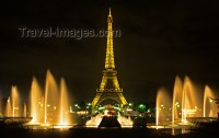 Paris, France: night shot of the Eiffel Tower and the ...