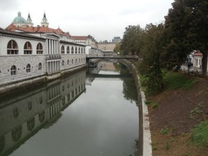 The view from Ljubljana Dragon bridge towards Prešeren square - Ljubljana city center