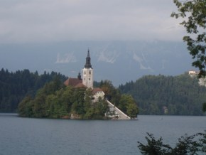 The view on Bled islet with the church