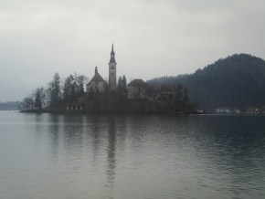 The view on the Bled islet froma afat