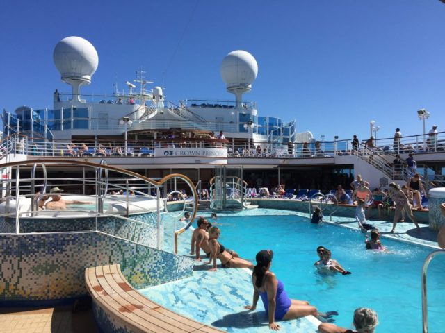 The main pool on a cruise