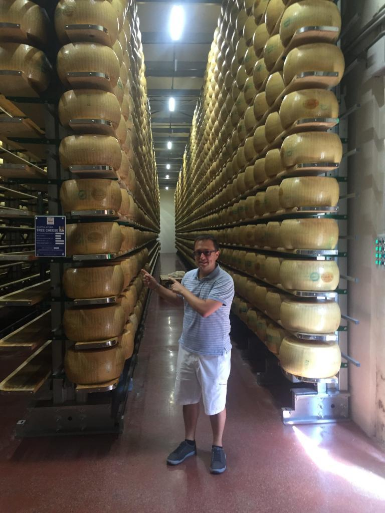Rick at a Parmesan cheese farm - this is where it is stored