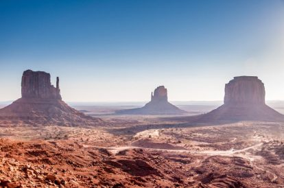 Monument Valley right after sunrise
