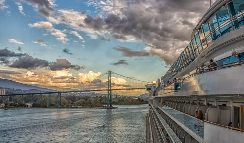 Cruising toward the Lions Gate Bridge from the Cruise Ship Terminal in Vancouver
