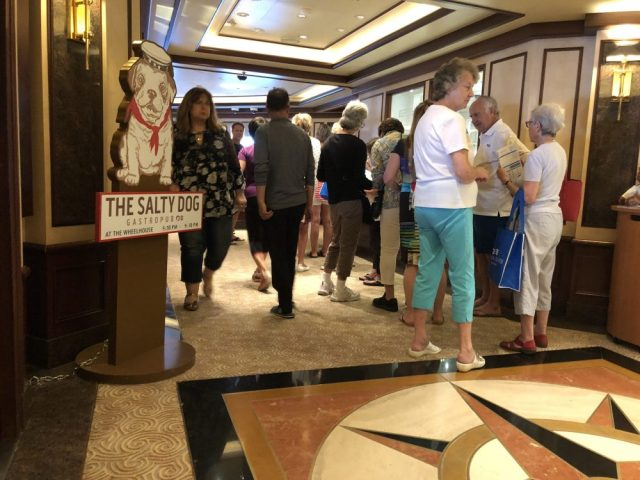 Very long line at cruise line excursion desk