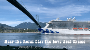 Royal Princess going under the Lions Gate Bridge in Vancouver