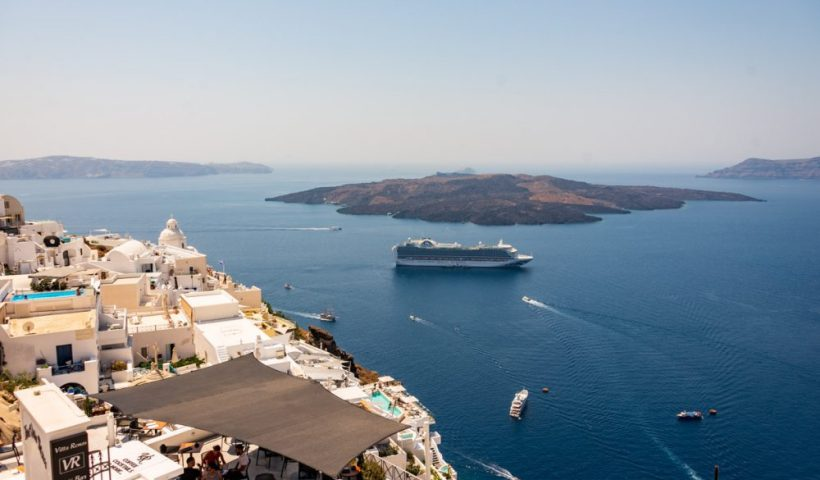 Santorini Caldera - Emerald Princess Cruise ship in the Mediterranean
