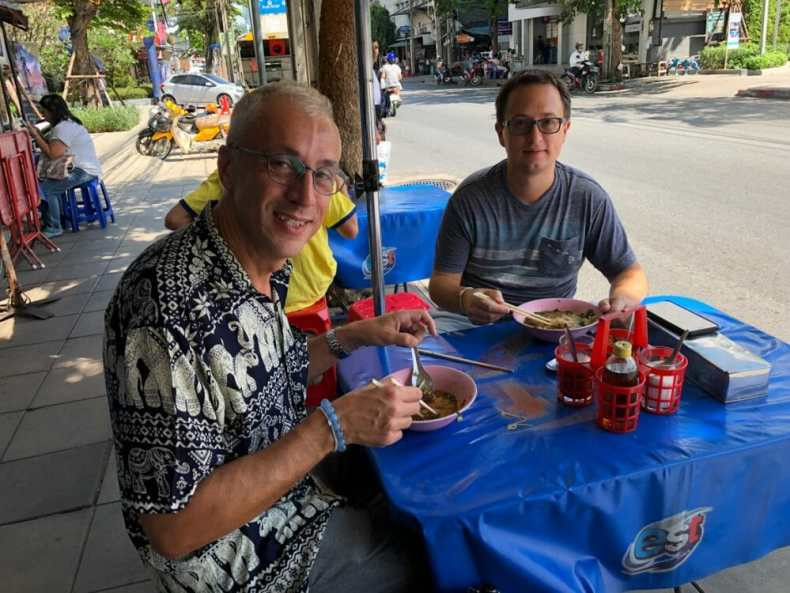 Rick and Andrea eating Local Food in Bangkok, Thailand on their cruise to asia
