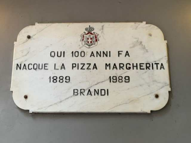 The Plaque commemorating the invention of the Margherita Pizza