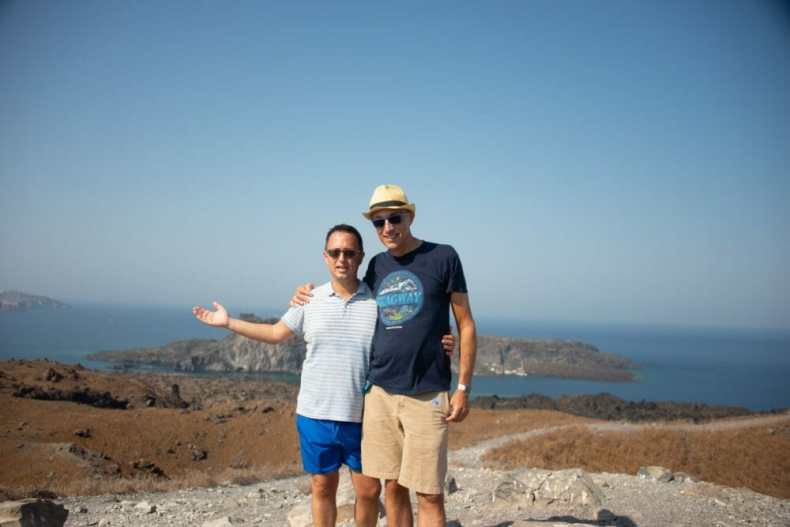 Us at the top of Santorini Volcano - among our favorite cruise excursions