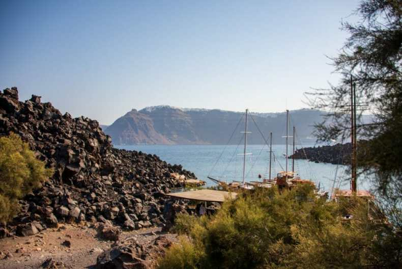 The Little Dock on Nea Kameni Island - In Santorini, one of our Top Cruise Excursions in the Mediterranean