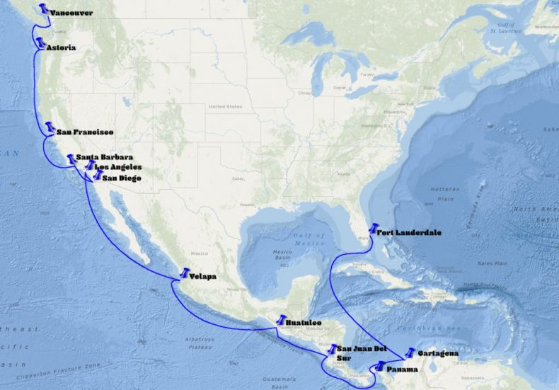 From Vancouver to Fort Lauderdale thought the Panama Canal