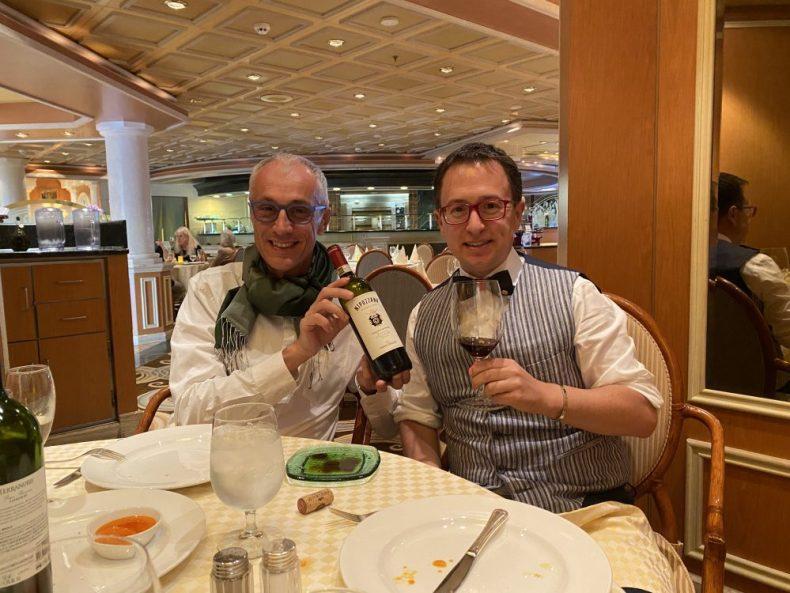 Rick and Andrea sharing Wine at Sabatini on Princess