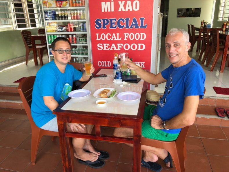 Rick and Andrea having lunch in Vietnam - a stop on their Asian cruise