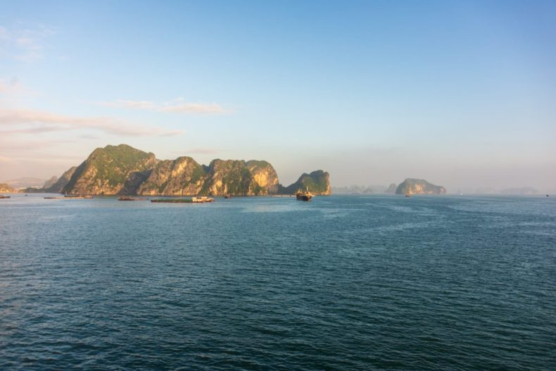 Halong Bay after the fog lifted - headed back to our cruise ship