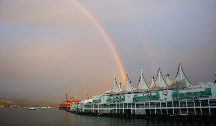 A rainbow - an amazing thing to see at the cruise port in Vancouver
