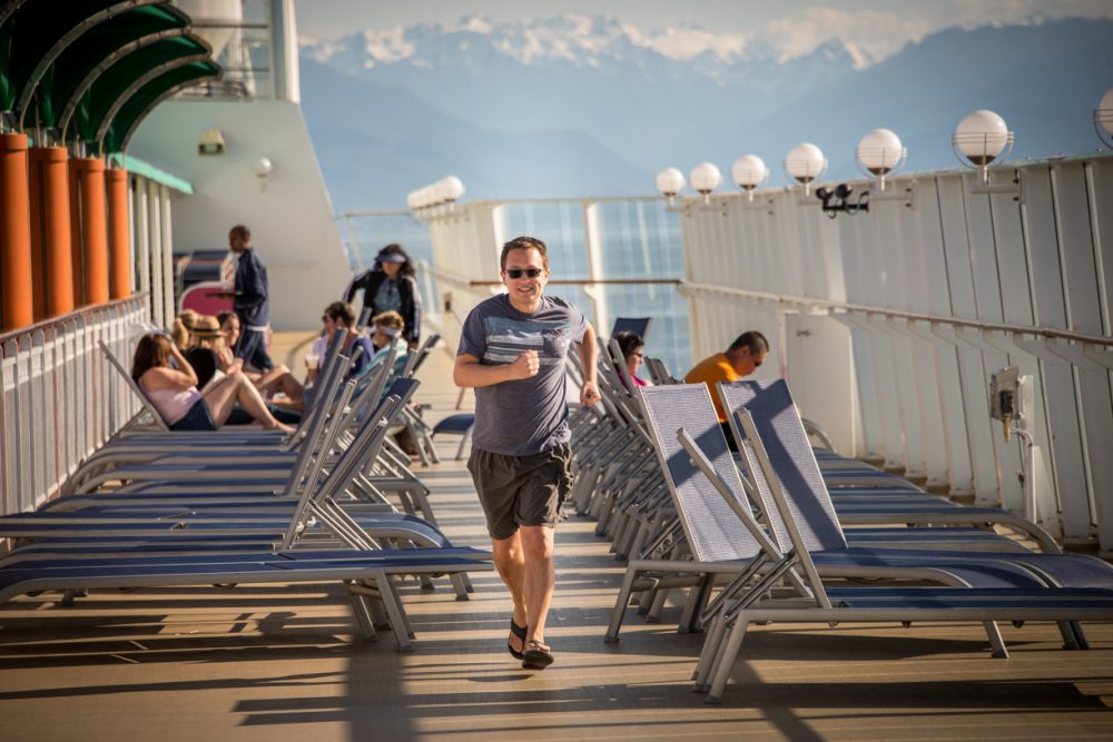 rick staying fit by running on a cruise ship