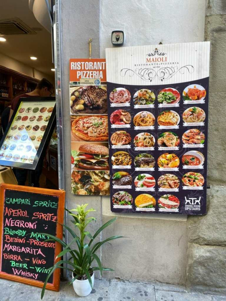 Example of tourist traps - this is not authentic Italian cuisine!