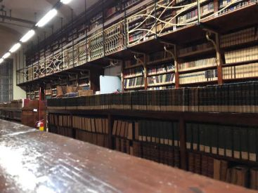 Wider angle of the collection of books