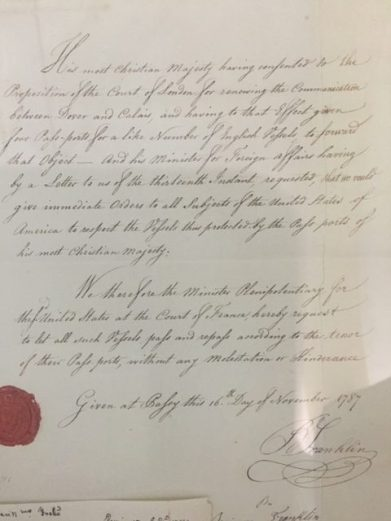 A Letter On display at the Estensi Library from Benjamin Franklin