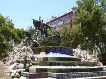Important monument with Graffiti in Santiago