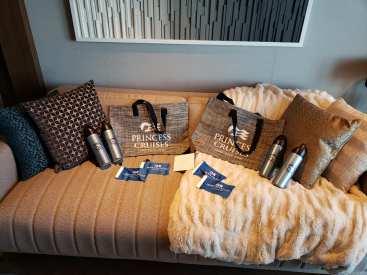 Sofa and goodies Sky Suite on Sky Princess Cruises
