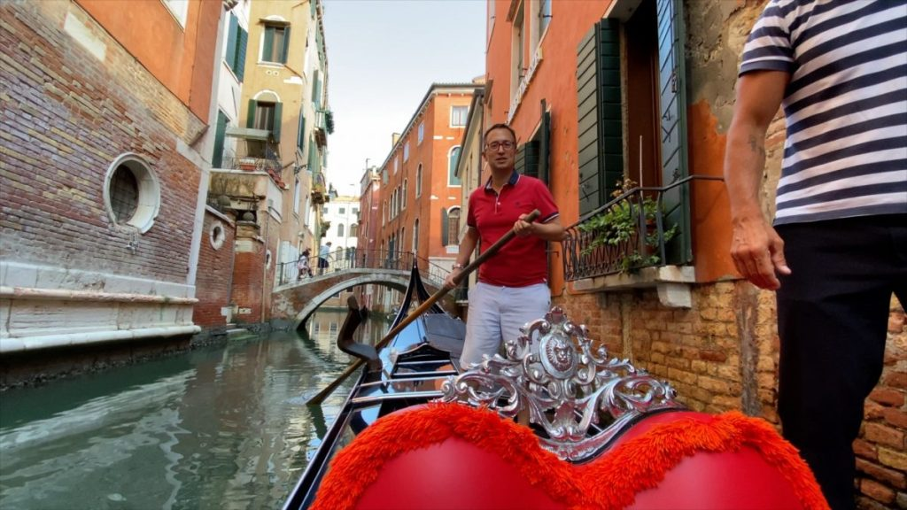 Rick steering a Gondola in our tour of Venice