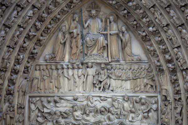 Picture of Close-up of the Portal of the Last Judgment, the central portal of the western facade of the Notre Dame