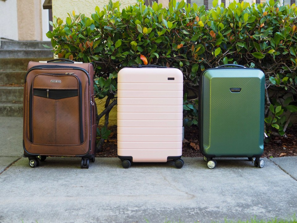 b9f5c0c39ca Samsonite, Away Bigger Carry-On, and Ricardo luggage sizes compared from  the side