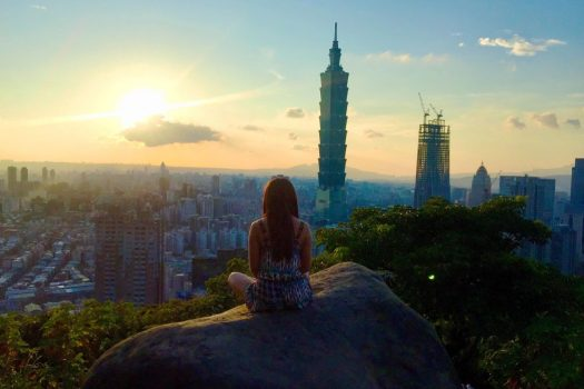 Product Marketing Engineer overlooking Taipei while traveling for work