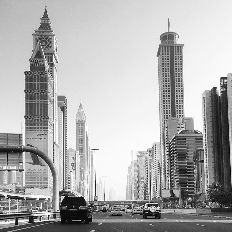 Dubai buildings after work